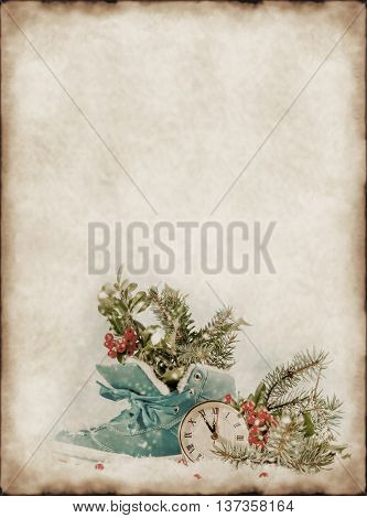 Vintage background with Christmas decorations