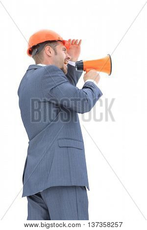 Isolated young architect with megaphone