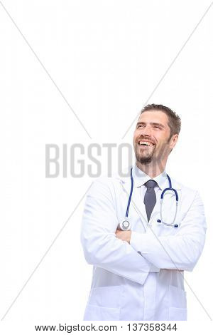 Happy smiling doctor looking at something  isolated on white background