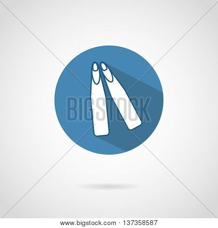 Freediving flippers icon with shadow. Vector illustration.