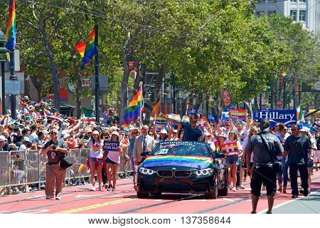 San Francisco CA - June 26 2016: Unidentified participants at the 46th annual San Francisco Gay Pride Parade. This year's theme