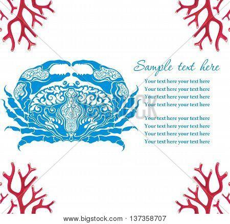 Blue crab,  vector cartoon illustration . Cancer