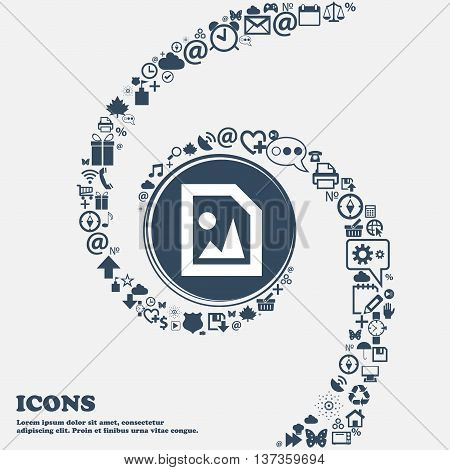 File Jpg Icon Sign In The Center. Around The Many Beautiful Symbols Twisted In A Spiral. You Can Use