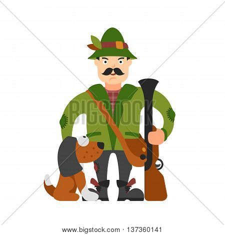 Illustration Of Hunter With A Dog