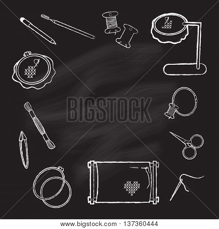 Frame tool for embroidery drawn in chalk on a blackboard. Frame for embroidery scissors spool thread needle marker and other accessories. White on black. Vector illustration.