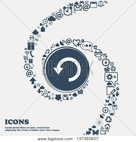 Upgrade, Arrow, Update Icon Sign In The Center. Around The Many Beautiful Symbols Twisted In A Spira