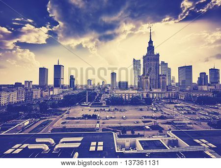 Old Grainy Film Style Warsaw Downtown At Sunset.