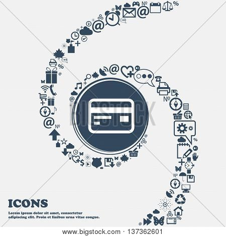 Credit, Debit Card Icon Sign In The Center. Around The Many Beautiful Symbols Twisted In A Spiral. Y