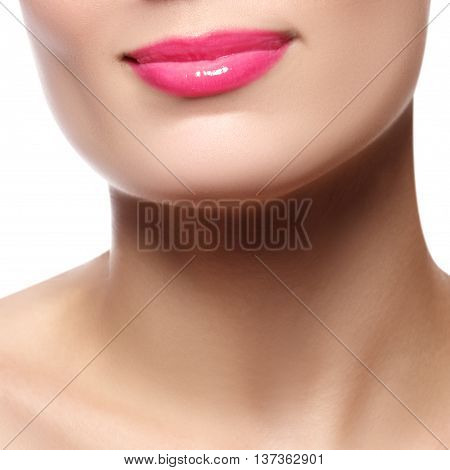Sexy Lips. Beauty Pink Lip Makeup Detail. Beautiful Make-up Clos