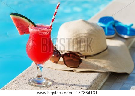 Watermelon Fresh Juice Smoothie Drink Cocktail Slippers, Hat, Sunglasses Pool