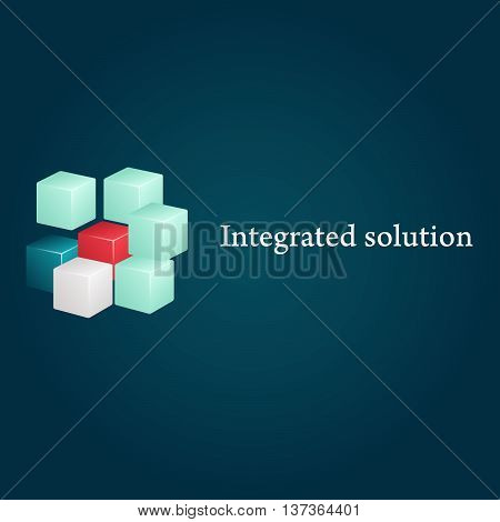 Conceptual image of integrated solution. Logo and text.