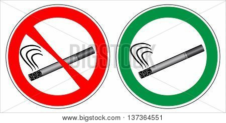 No smoking and Smoking area labels. Vector EPS. - Set 2