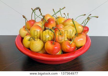 Pile of Rainier Cherries in a red bowl and on a wooden table macro