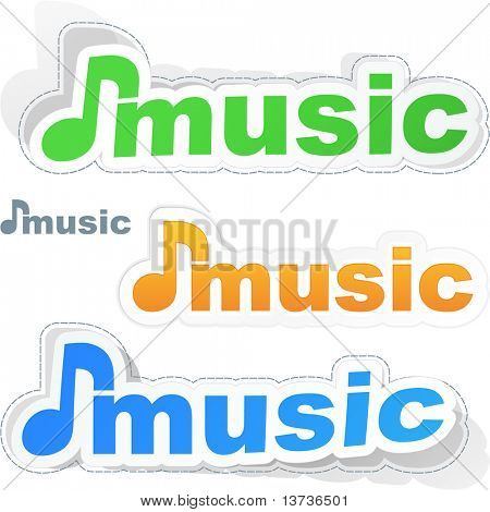 Music sticker set. Vector illustration.