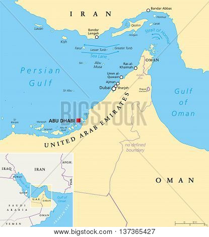 Strait of Hormuz, Abu Musa and the Tunbs political map. Only sea passage from Persian Gulf to Arabian Sea. One of the most strategically important choke points. English labeling. Illustration