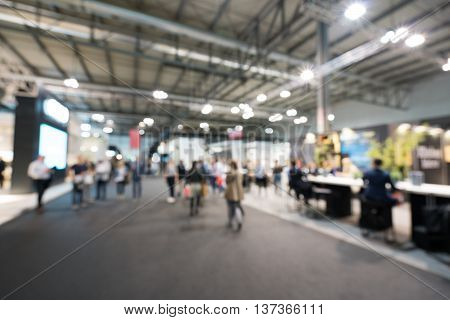 Blurred defocused background of public event exhibition hall