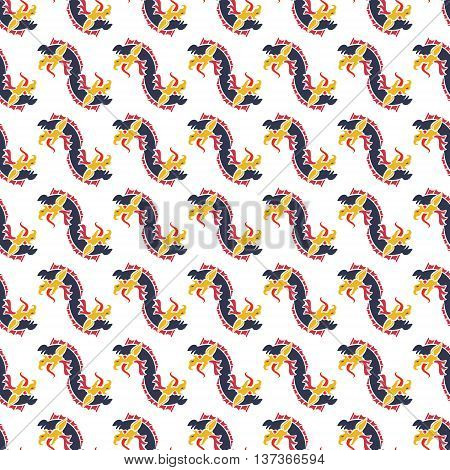 Seamless pattern with bright color dragons. Isolated on white