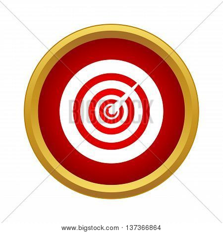 Game darts icon in simple style in red circle. Fun and games symbol