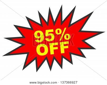 Discount 95 Percent Off. 3D Illustration On White Background.