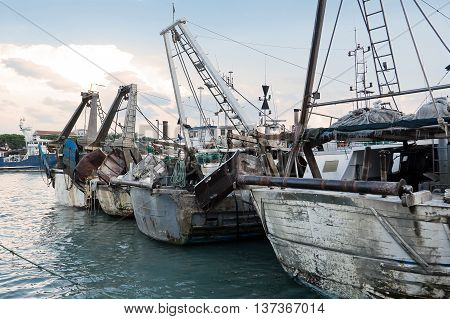 The port chanel of Pescara with fish boat (Italy)