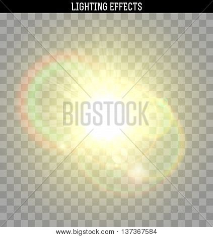Sun yellow glare light effect. Object realistic isolated with transparent. Vector illustration.