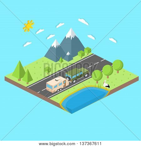 Isometric Illustration Of Car And Travel Trailers. Summer Trip Family Travel Concept. Thin Line Icon