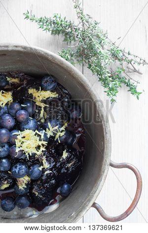 Fresh Blueberries In Vintage Pan