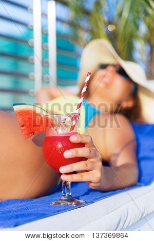 Woman Hat Holding Water Melon Fresh Juice Smoothie Drink Cocktail
