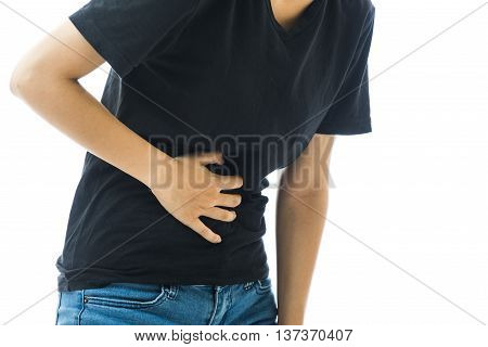 young Woman stomach pain on white background