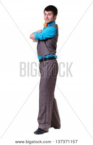rear view of disco dancer showing some movements against isolated white background