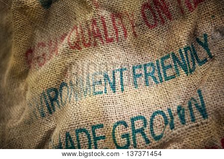Burlap bag of organic compost in a garden center