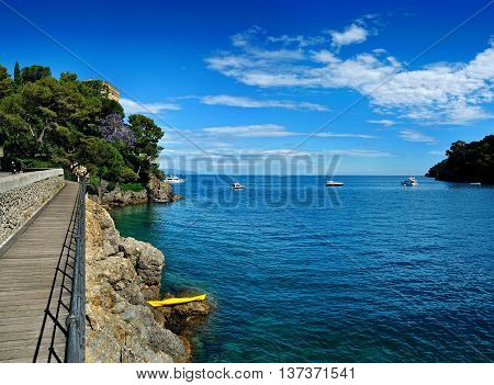 view of the bay of Portofino on the Riviera with footpath