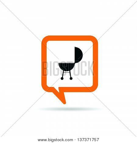 Square Orange Speech Bubble With Barbecue Icon Illustration