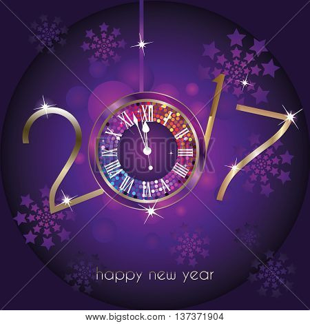 Purple Clock with New Year numerals 2017 on a black background