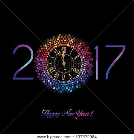 Rainbow Clock with New Year numerals on a black background