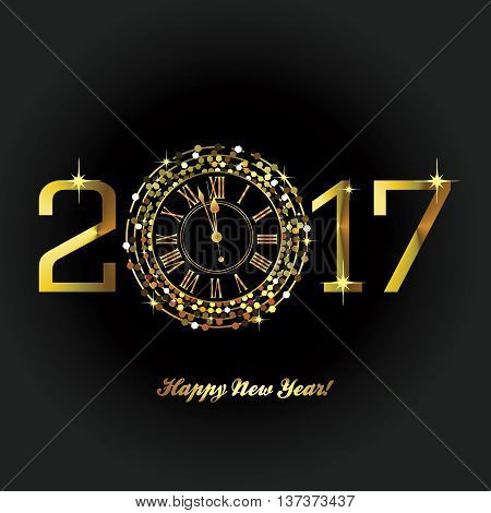 Gold Clock with New Year numerals on a black background