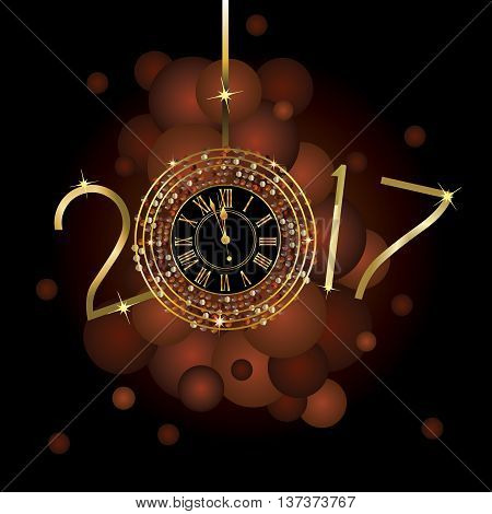 Clock with New Year numerals on a black background with copper and gold color bubbles