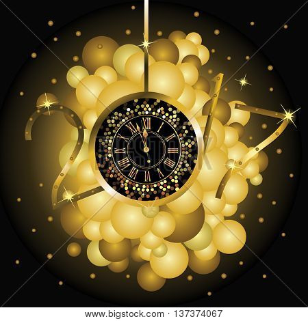 Clock with New Year numerals on a black background with yellow bubbles