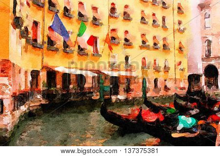 Beautiful Painting of the gondolas in Venice italy