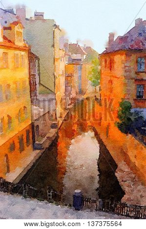 Very Nice painting of a canal in Old Prague