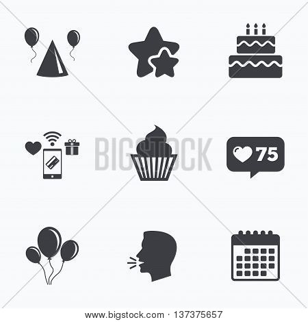 Birthday party icons. Cake, balloon, hat and muffin signs. Celebration symbol. Cupcake sweet food. Flat talking head, calendar icons. Stars, like counter icons. Vector
