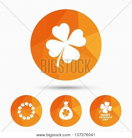Saint Patrick day icons. Money bag with clover sign. Wreath of quatrefoil clovers. Symbol of good luck. Triangular low poly buttons with shadow. Vector