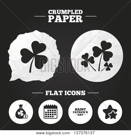 Crumpled paper speech bubble. Saint Patrick day icons. Money bag with clover and coin sign. Trefoil shamrock clover. Symbol of good luck. Paper button. Vector