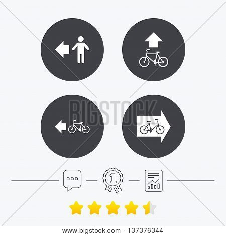 Pedestrian road icon. Bicycle path trail sign. Cycle path. Arrow symbol. Chat, award medal and report linear icons. Star vote ranking. Vector