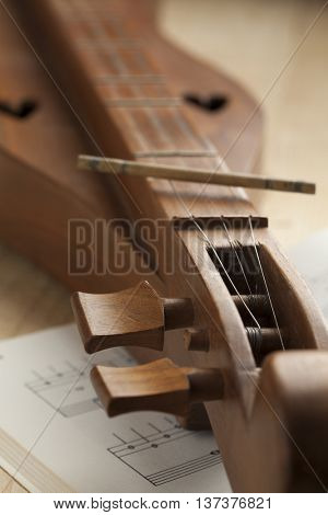 Appalachian mountain dulcimer instrument close up