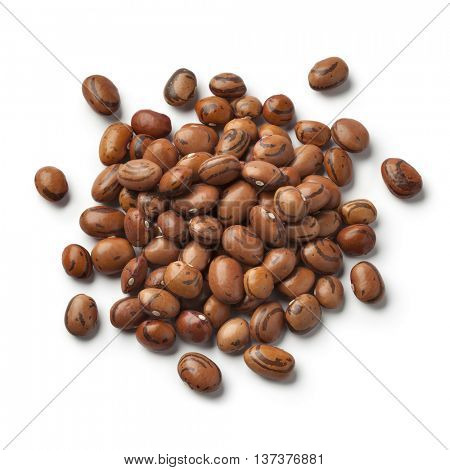 Heap of dried Eye of the goat beans on white background
