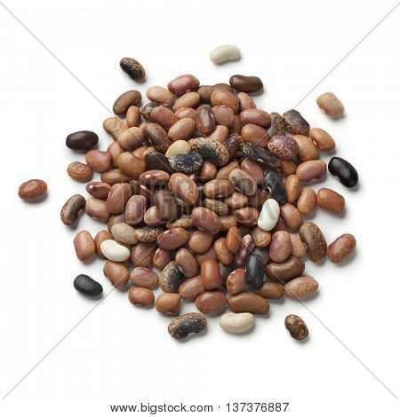 Heap of dried pebble beans on white background