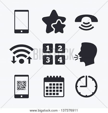 Phone icons. Smartphone with Qr code sign. Call center support symbol. Cellphone keyboard symbol. Wifi internet, favorite stars, calendar and clock. Talking head. Vector