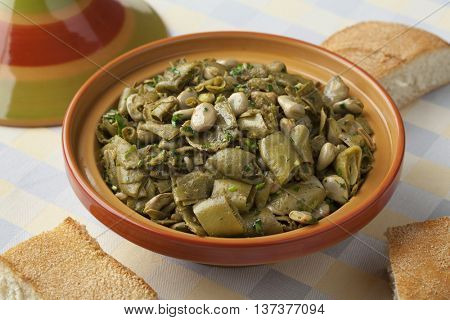Traditional Moroccan steamed broad beans and pods