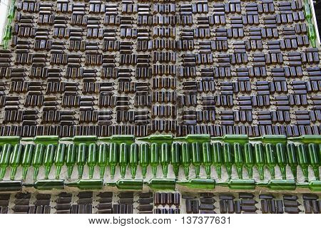 Background wall bottle The wat khuat temple an Astounding Temple made of bottles.Chana Songkhla Thailand.